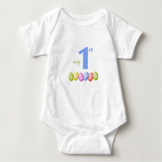 Baby's first Easter shirt with coloful Easter eggs