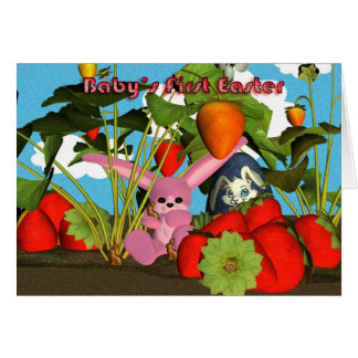 Baby's First Easter with pink bunny strawberries Greeting Card