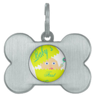 Baby's First Easter-Yellow Pet Name Tag