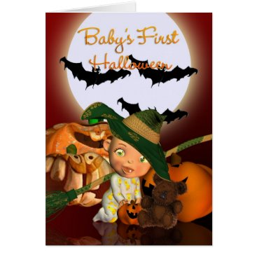 Halloween Themed Baby's First Halloween with bats and pumpkins Card