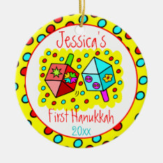 Baby's First Hanukkah - Two-sided Ceramic Ornament at Zazzle