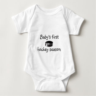 Baby's first hockey season tee shirt