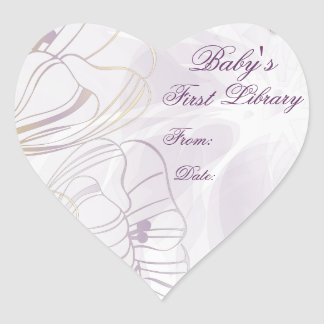 """""""Baby's First Library"""" Book Plate - French Lilac Heart Sticker"""