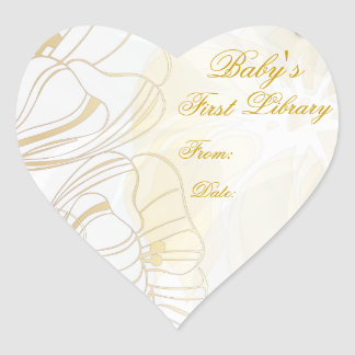 """""""Baby's First Library"""" Book Plate - Gold Poppies Heart Sticker"""