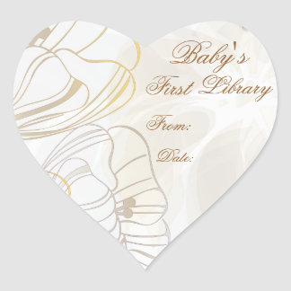 """""""Baby's First Library"""" Book Plate - Latte' & Gold Heart Sticker"""