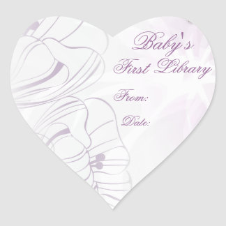 """""""Baby's First Library"""" Book Plate - Lilac Poppies Heart Sticker"""