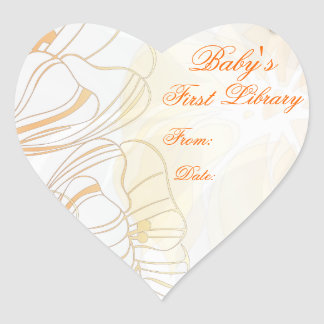 """""""Baby's First Library"""" Book Plate - Orange Poppies Heart Sticker"""