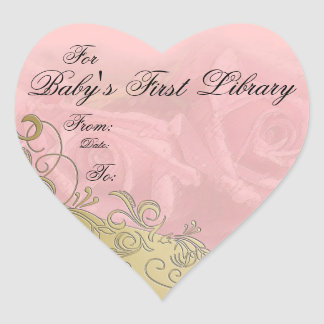 """""""Baby's First Library"""" Book Plate - Pink & Gold Heart Sticker"""