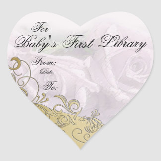 """""""Baby's First Library"""" Book Plate - Purple & Gold Heart Sticker"""