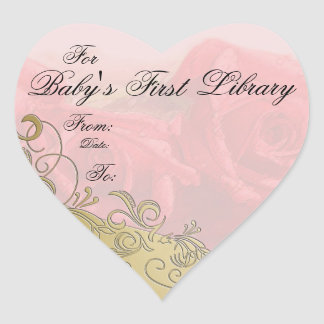 """""""Baby's First Library"""" Book Plate - Red & Gold Heart Sticker"""