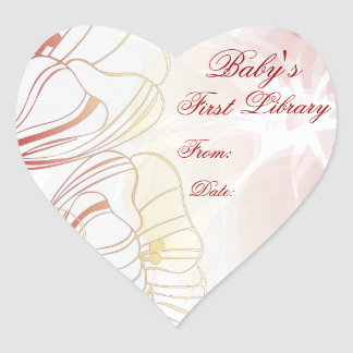 """""""Baby's First Library"""" Book Plate - Red Poppies #2 Heart Sticker"""