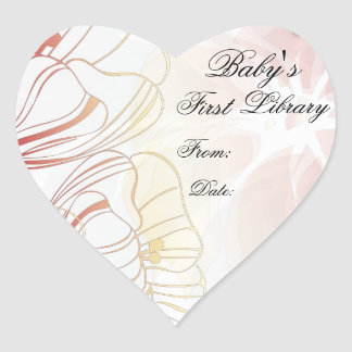 """""""Baby's First Library"""" Book Plate - Red Poppies Heart Sticker"""