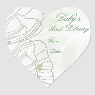 """""""Baby's First Library"""" Book Plate- Sage Poppies #2 Heart Sticker"""