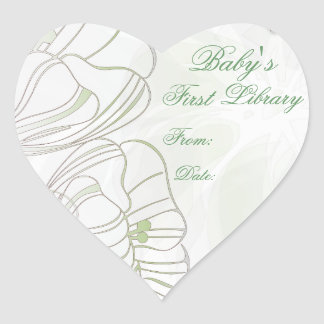 """""""Baby's First Library"""" Book Plate - Sage Poppies Heart Sticker"""