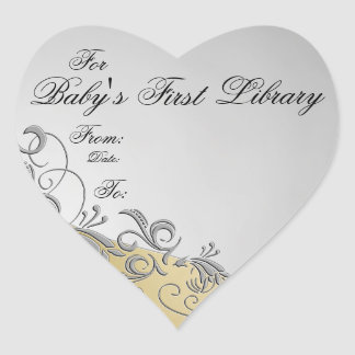 """""""Baby's First Library"""" Book Plate-Silver & Gold #2 Heart Sticker"""