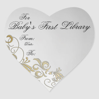 """""""Baby's First Library"""" Book Plate-Silver & Gold #3 Heart Sticker"""