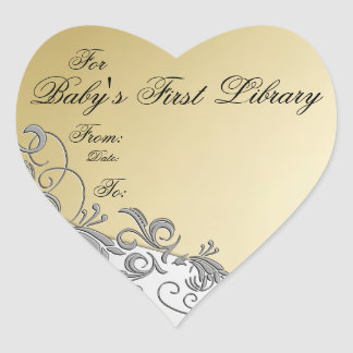 """""""Baby's First Library"""" Book Plate-Silver & Gold #4 Heart Sticker"""