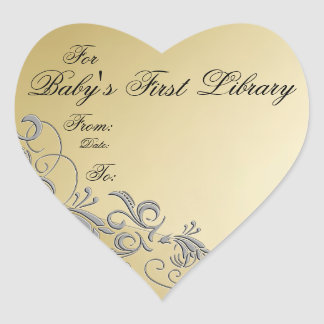 """""""Baby's First Library"""" Book Plate-Silver & Gold #5 Heart Sticker"""