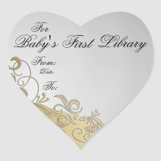 """""""Baby's First Library"""" Book Plate - Silver & Gold Heart Sticker"""