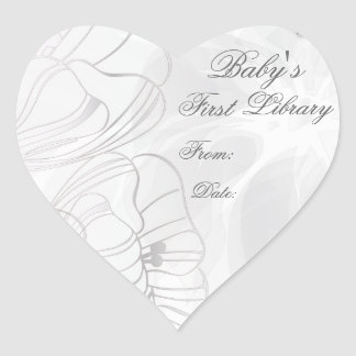 """""""Baby's First Library"""" Book Plate - Silver Poppies Heart Sticker"""