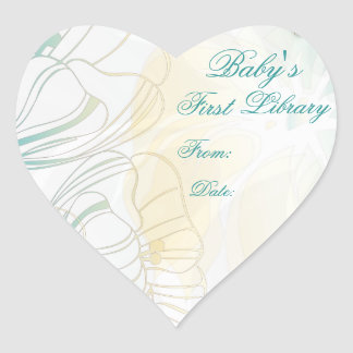 """""""Baby's First Library"""" Book Plate - Teal & Gold Heart Sticker"""