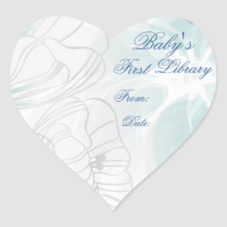 """""""Baby's First Library"""" Book Plate - Teal Poppies Heart Sticker"""