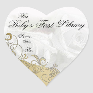 """""""Baby's First Library"""" Book Plate - White & Gold Heart Sticker"""