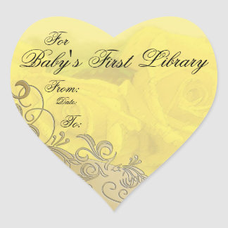 """""""Baby's First Library"""" Book Plate - Yellow & Gold Heart Sticker"""