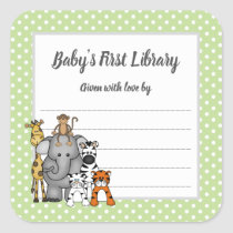 Baby's First  Library bookplate, bring a book Square Sticker