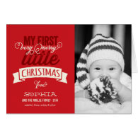 Baby's First Merry Little Christmas Photo Greeting Greeting Card