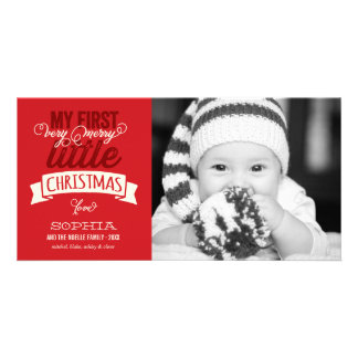Baby's First Merry Little Christmas Photo Greeting Photo Card