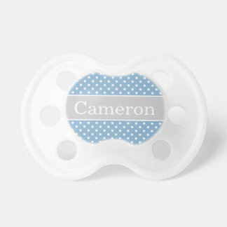 Baby's First Name   Blue Gray Stripes BooginHead Pacifier