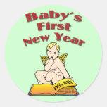 Baby's First New Year Classic Round Sticker