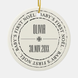 Baby's First Noel Circle Seal Photo Ornament