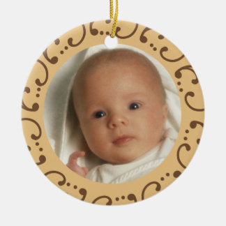 Babys First Photo Double-Sided Ceramic Round Christmas Ornament