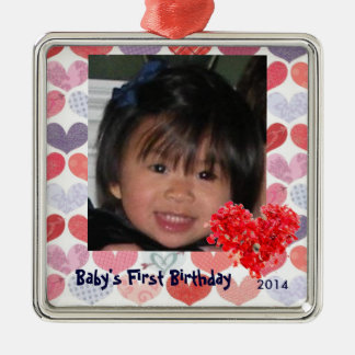 Baby's First Photo Ornament with Hearts