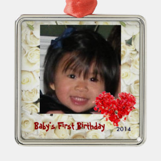 Baby's First Photo Ornament with Roses
