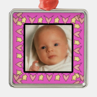 Babys First Photo Square Metal Christmas Ornament