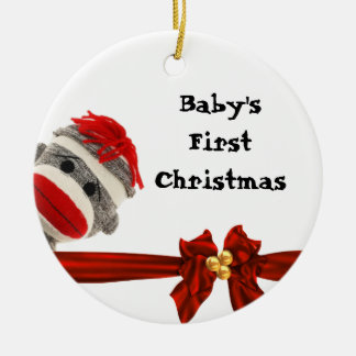 BABY'S FIRST SOCK MONKEY ORNAMENT PERSONALIZED
