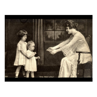 Baby's First Steps Vintage 1918 Postcard