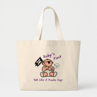 Baby's first talk like a pirate day canvas bags
