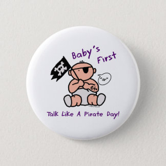 Baby's first talk like a pirate day button
