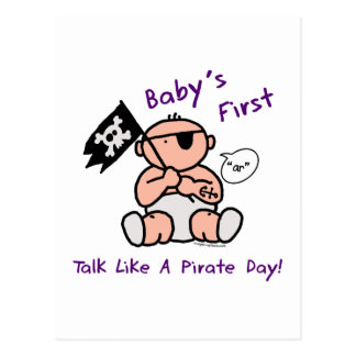 Baby's first talk like a pirate day postcard