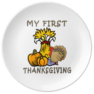 Baby's First Thanksgiving Porcelain Plate