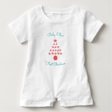 Beach Themed Babys First Tropical Christmas Starfish Tree Baby Romper