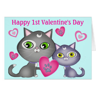 Baby's First Valentine's Day Cats Greeting Card
