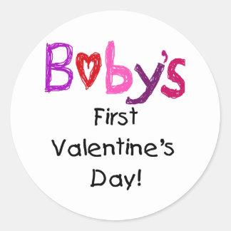 babys first valentines day classic round sticker - First Valentines Day