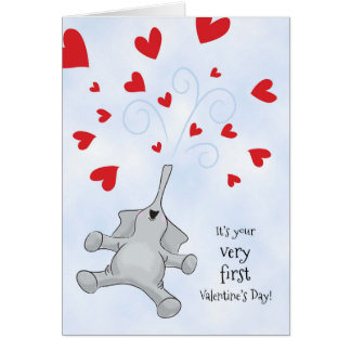 Baby's First Valentine's Day, Elephant & Hearts Card