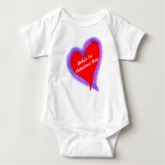 Baby's First Valentine's Day Red Double Heart Baby Bodysuit