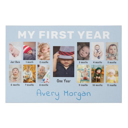 Babys First Year Custom 12 Months Photo Collage Faux Canvas Print
